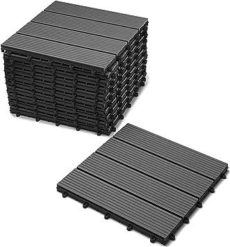 Garten klick-Fliese FSC/®100/% 30x30 cm Drainage 11er Spar-Set f/ür 1m/² Bodenbelag SAM Terrassenfliese 02 Akazienholz