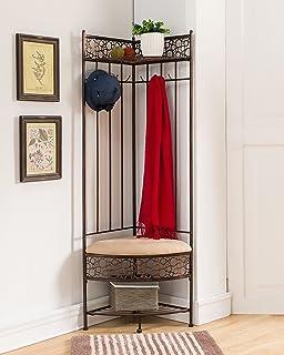 Kings Brand Furniture Brushed Copper Metal Corner Entryway Hallway Storage  Bench Coat Rack