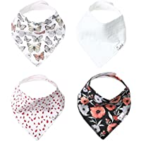 """Baby Bandana Drool Bibs for Drooling and Teething 4 Pack Gift Set """"Dot"""" by Copper Pearl"""