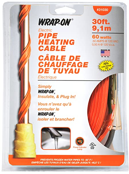 Amazon.com WRAP-ON Pipe Heating Cable - 3-Feet 120 Volt Built-in Thermostat Low Wattage - 31003 Home Improvement  sc 1 st  Amazon.com & Amazon.com: WRAP-ON Pipe Heating Cable - 3-Feet 120 Volt Built-in ...