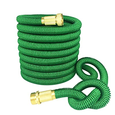 Greenbest 2016 New 50' Expanding Garden Hose, Ultimate Expandable Garden Hose, Solid Brass Connector Fittings, Green