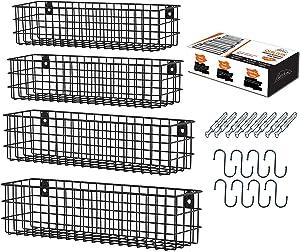 Wall Hanging Fruit Basket For Storage Set (Of 4 Black)| Wall Mounted Metal Fruit Baskets With Hooks & Screws|Wall Mount Wire Basket /Under Cabinet Fruit Basket For Storing | Hanging Wall Basket