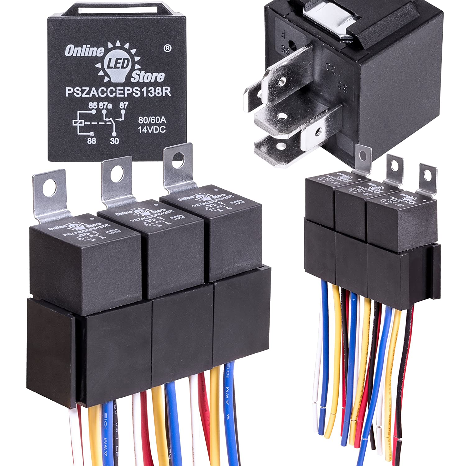 Online Led Store 5 Pack 12v 60 80 Amp Relay Switch 24v Pin Bosch Harness Set Heavy Duty Spdt Automotive Relays 12 Awg Hot Wires