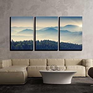 wall26 - 3 Piece Canvas Wall Art - Beautiful Sunny Day is in Mountain Landscape. Carpathian, Ukraine, Europe. - Modern Home Art Stretched and Framed Ready to Hang - 24