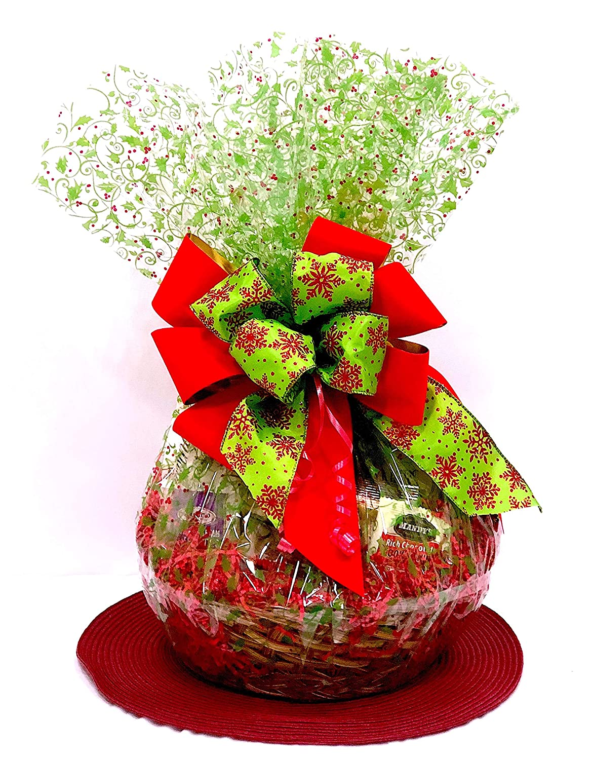 Amazon Com Chocolate And Gourmet Corporate Gift Baskets Holly Berry 84 99 Premium Plus Grocery Gourmet Food