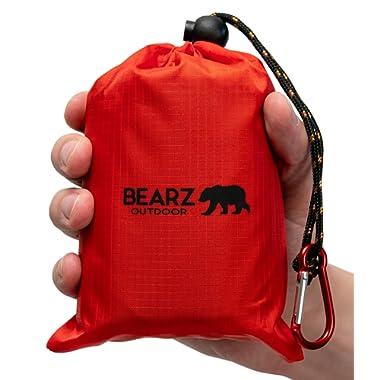 BEARZ Outdoor Beach Blanket/Compact Pocket Blanket 55″x60″ - Lightweight Camping Tarp, Waterproof Picnic Blanket, Festival Gear, Sand Proof Mat for Travel, Hiking, Sports - Packable w/Bag