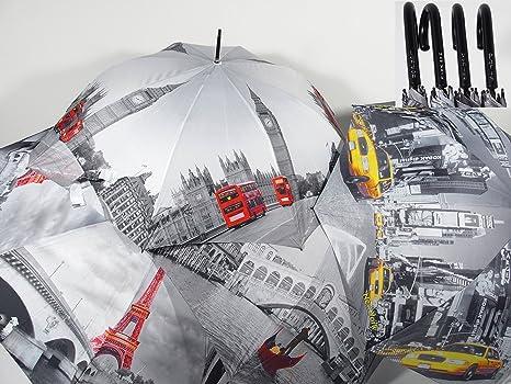 Paraguas infantil automático, diseño de dibujo de mujer de ciudades Venecia, Londres, Nueva