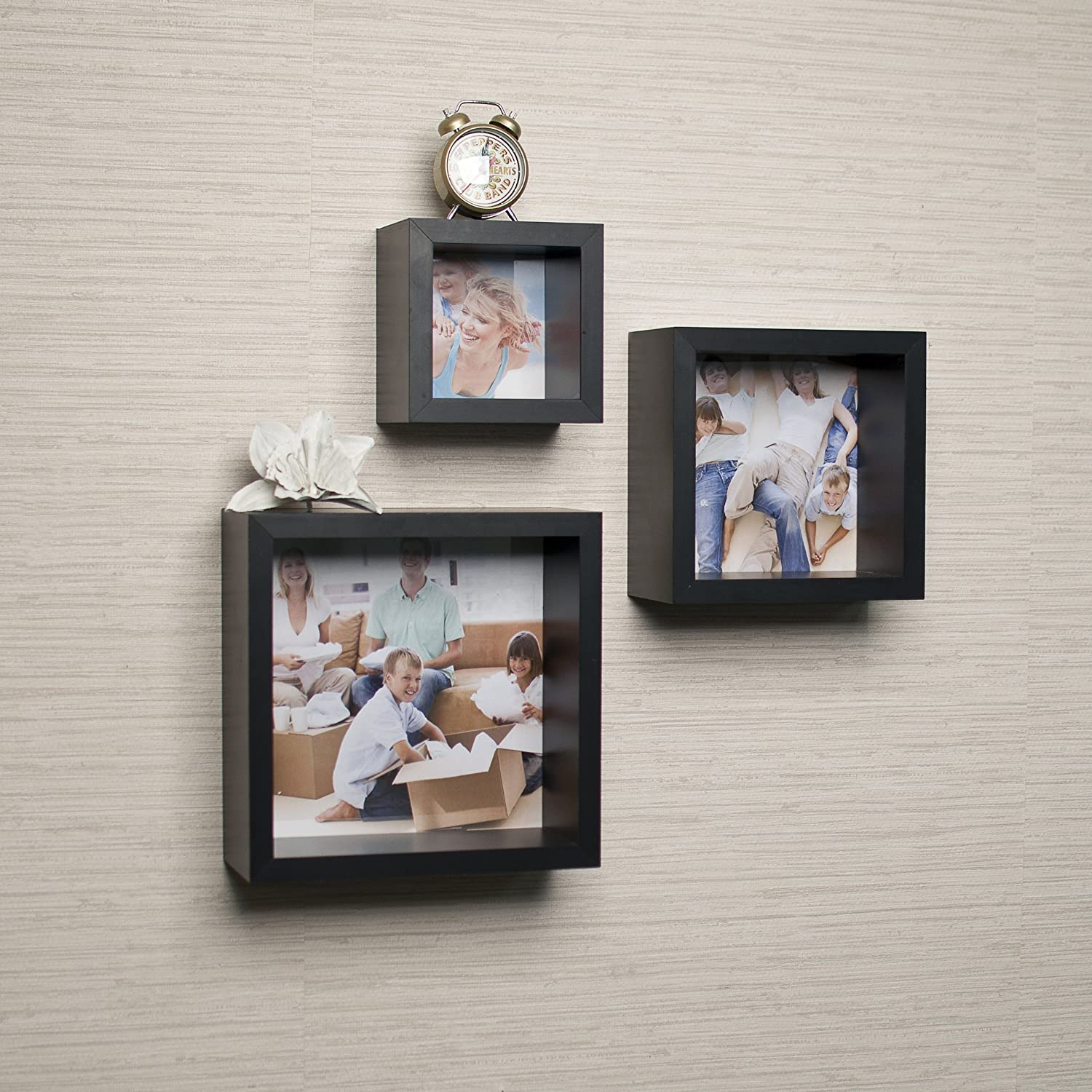 Amazon photo frame wall cube shelf set set of 3 home kitchen amipublicfo Gallery