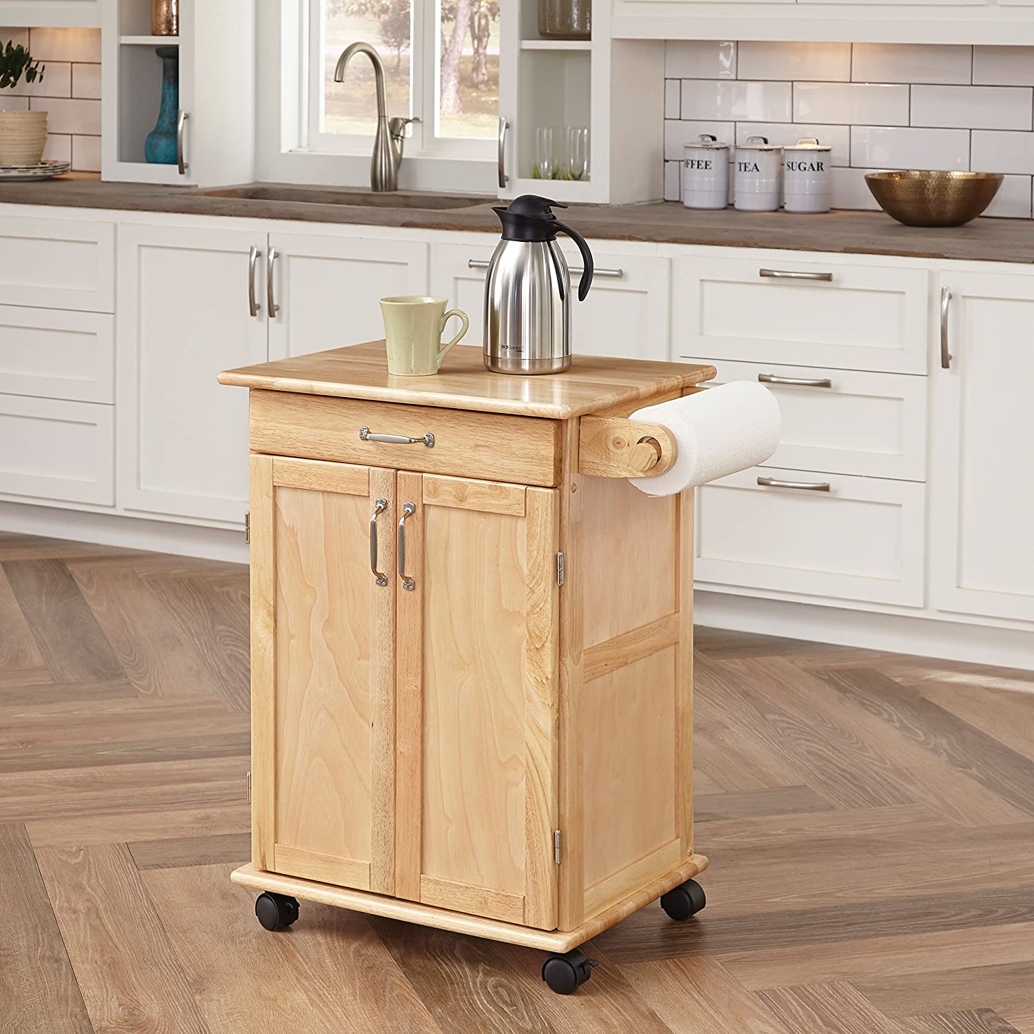 Amazon Com Paneled Door Kitchen Cart With Natural Finish By Home Styles Kitchen Islands Carts