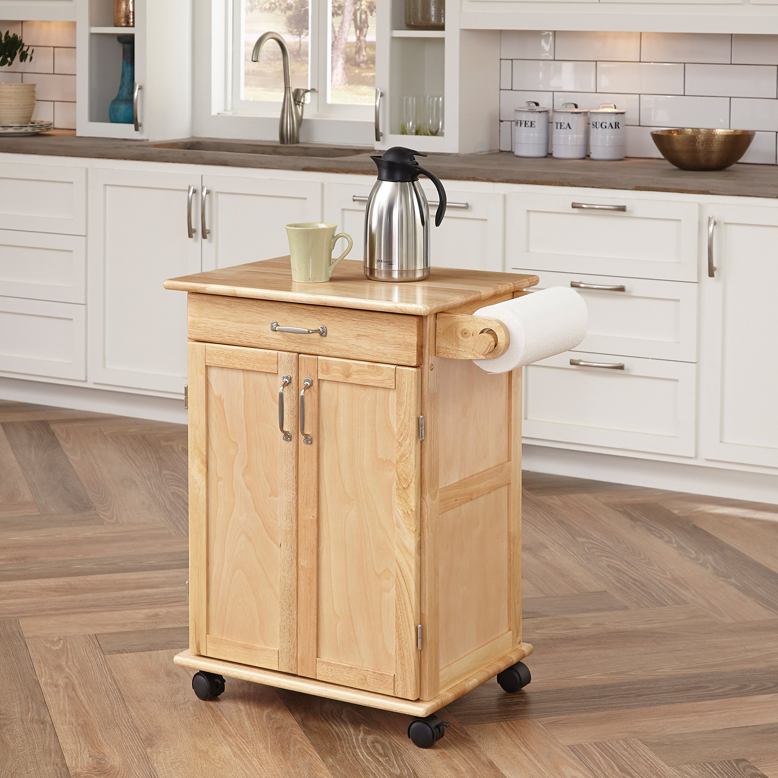 Paneled Door Kitchen Cart with Natural Finish by Home Styles by Home Styles
