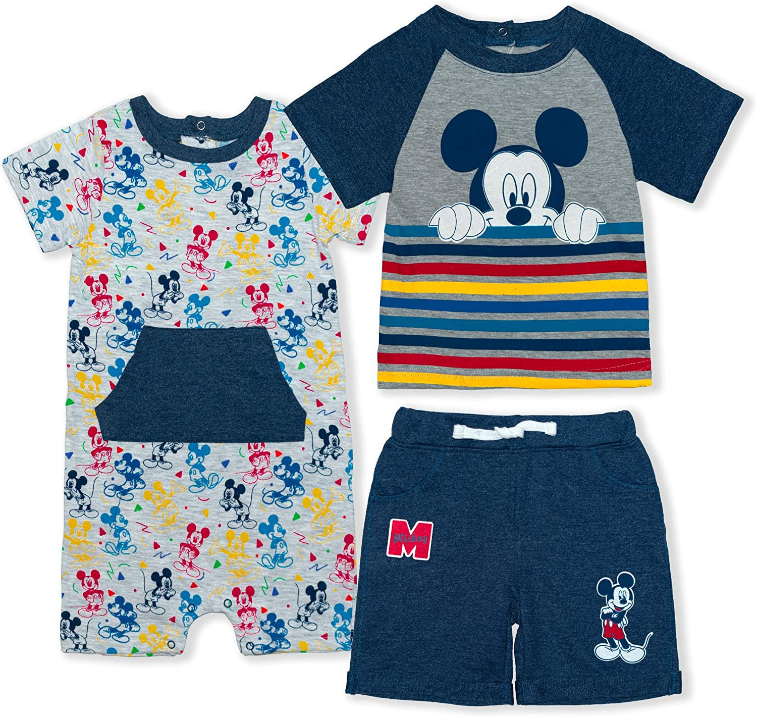 Disney Boy's Mickey Mouse Baby Shorts, Tee and Romper Toddler Clothes Set: Clothing