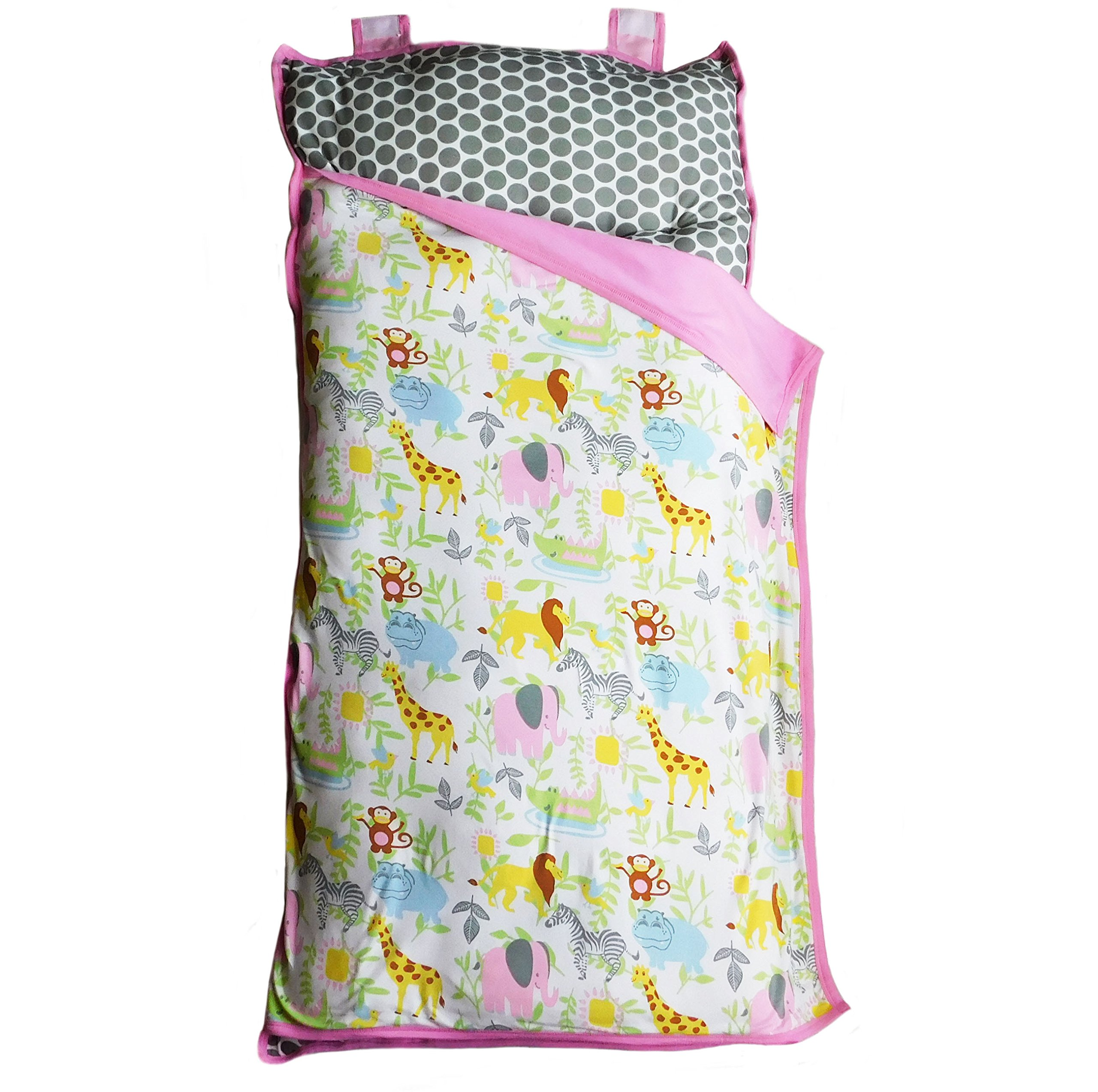 AnnLoren Toddler Girls Pink & Grey Zoo Animals Cozy Plush School Nap Time Mat