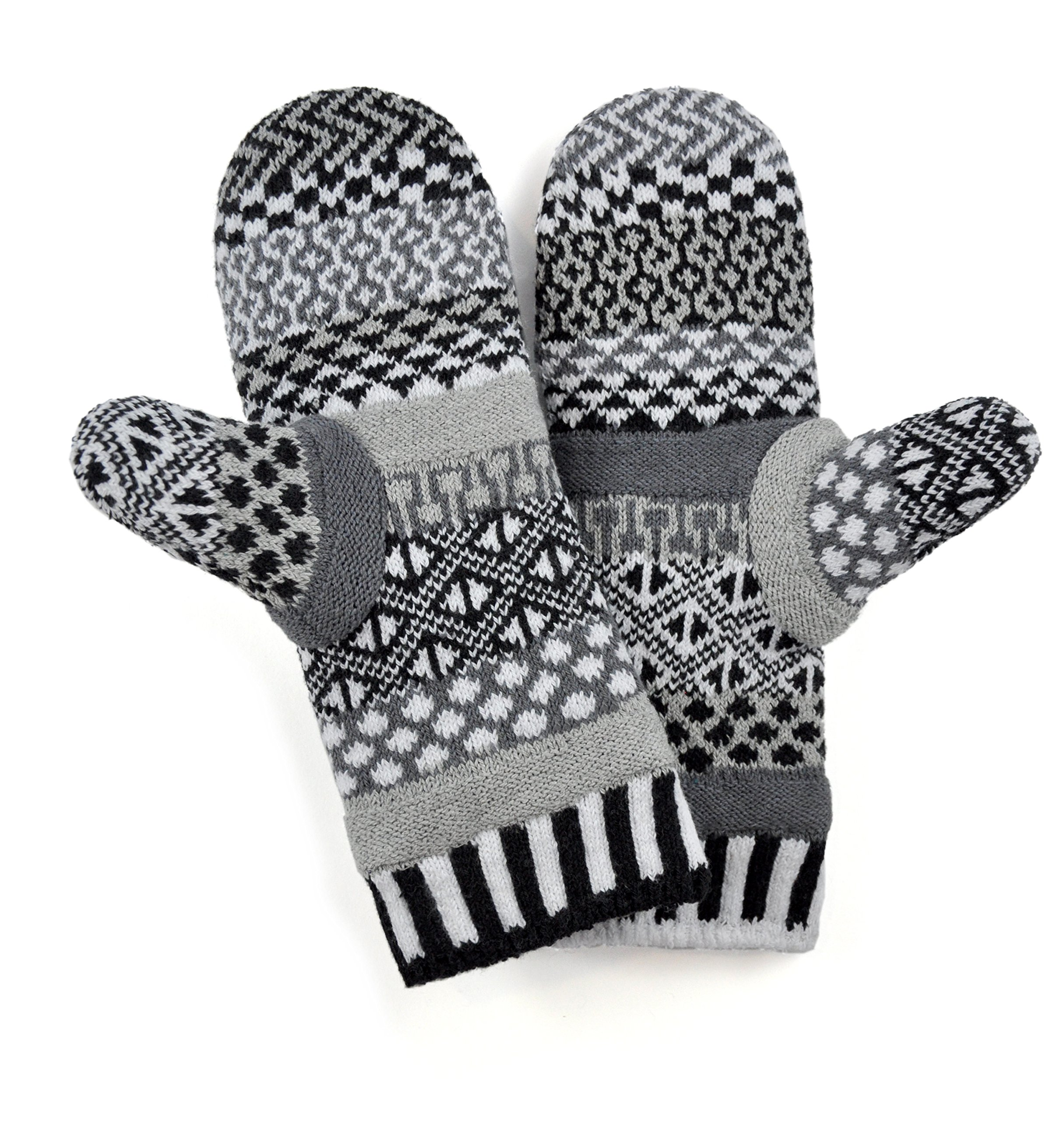 Solmate Brand USA Made Mismatched Fleece Lined Mittens, Midnight