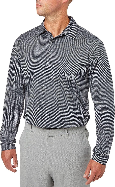 Walter HagenメンズEssentials Long Sleeve Stripe Golf Polo Small ネイビー B079DM9VC5