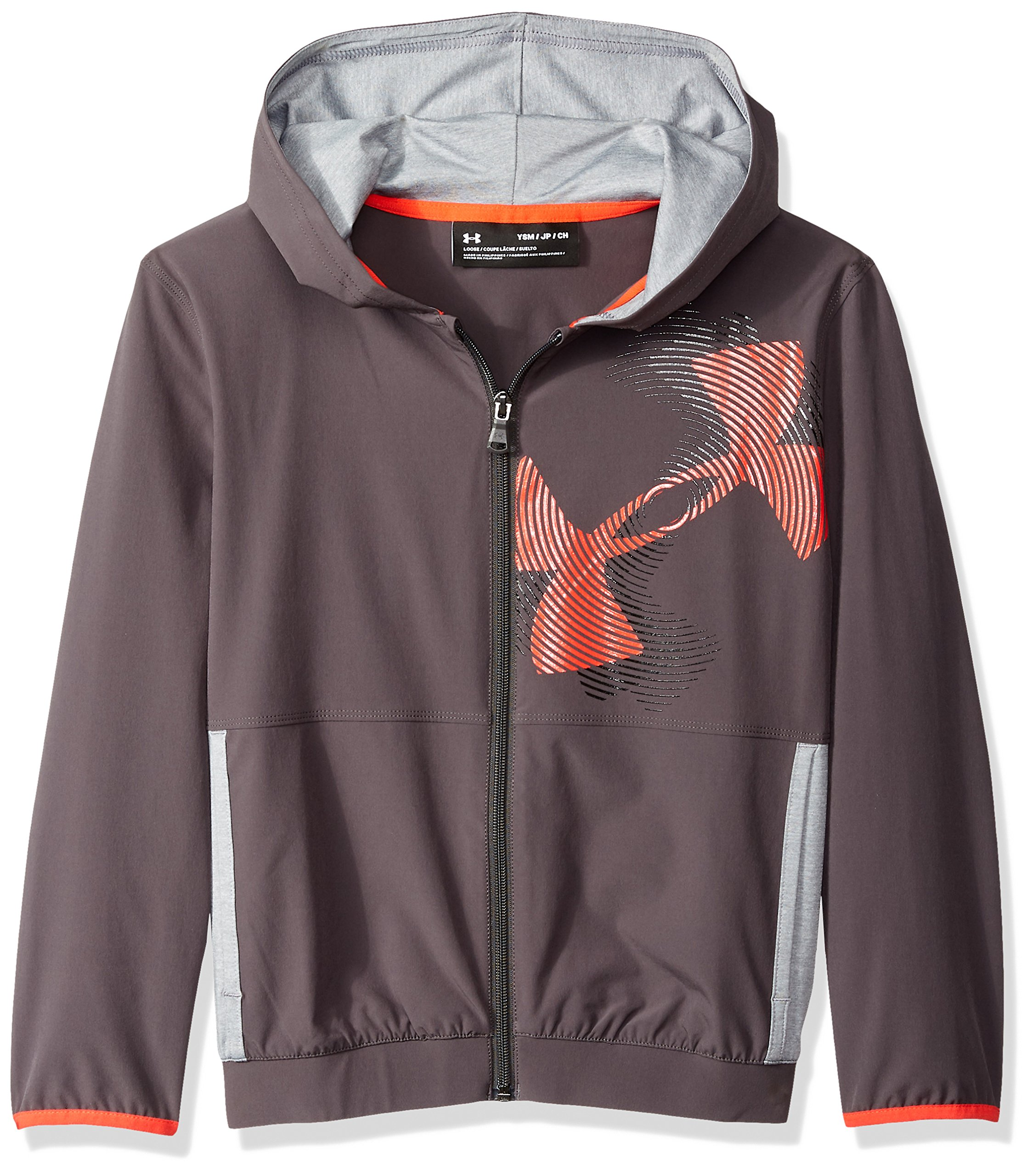 Under Armour Boys Woven Warm Up Jacket, Charcoal (019)/Radio Red, Youth X-Small
