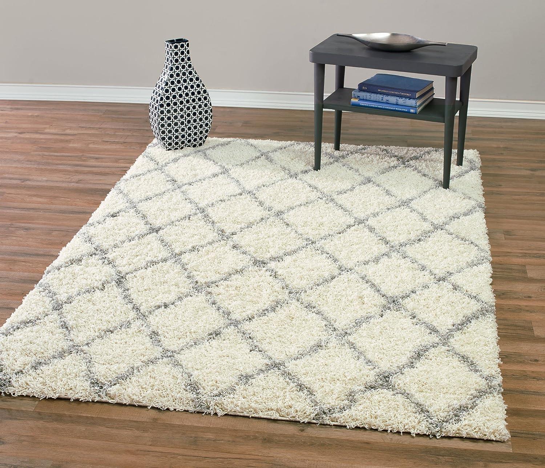Diagona Designs Contemporary Beni Ourain Inspired Trellis Design Modern Shaggy Area Rug, Ivory & Grey