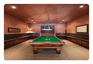 Modern Pet Mats For Food And Water By Ambesonne, Entertainment Room In  Mansion Pool Table