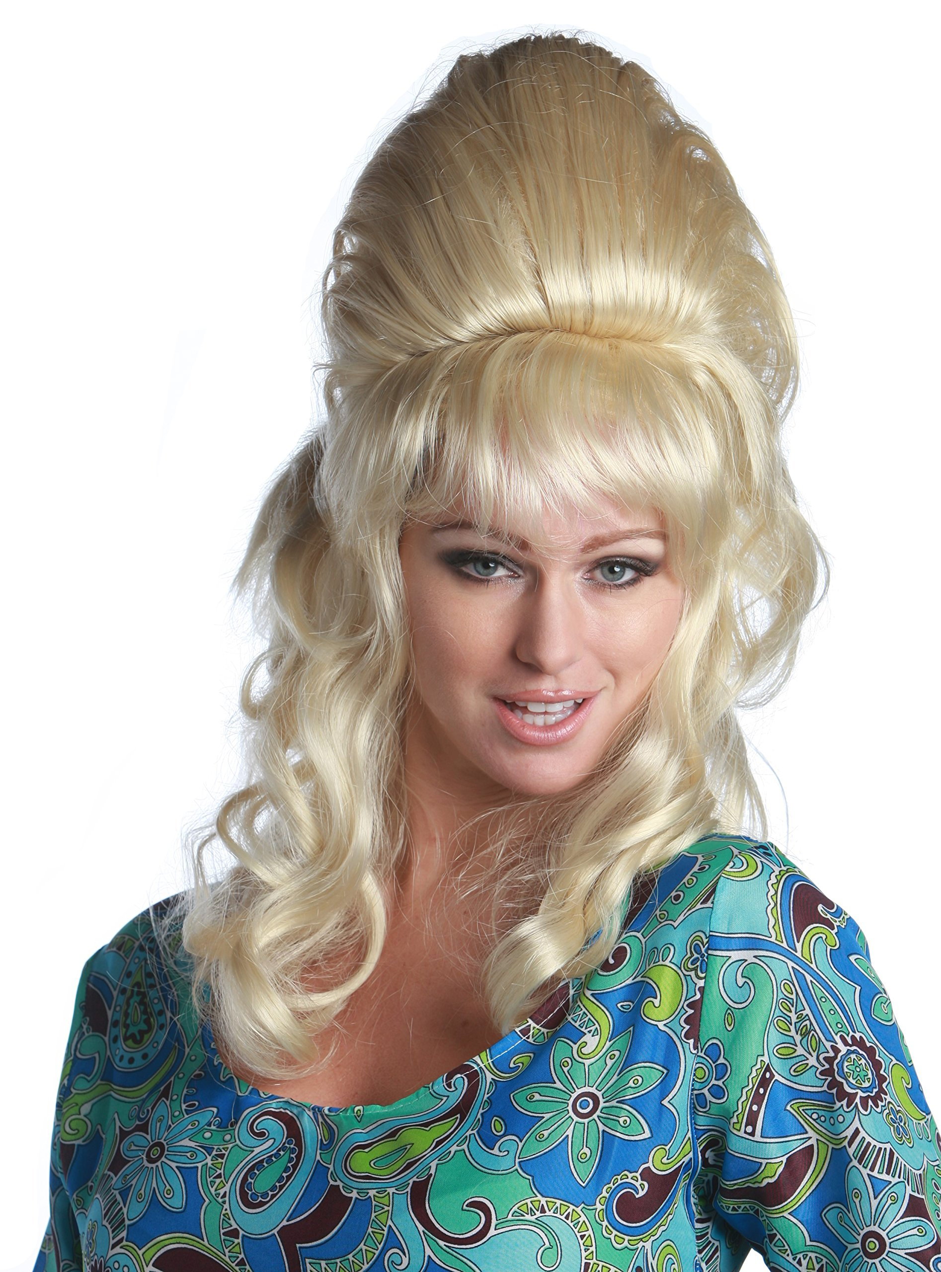 Premium Quality Austin Powers Fembot Beehive Wig - Blond