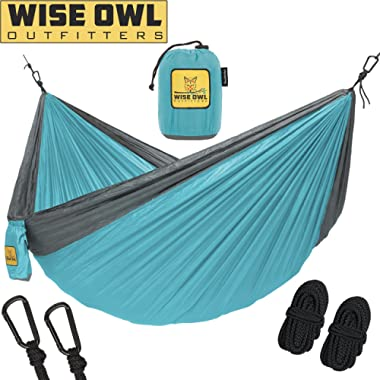 Wise Owl Outfitters Hammock Camping Double & Single Tree Hammocks - USA Based Brand Gear Indoor Outdoor Backpacking Survival & Travel, Portable