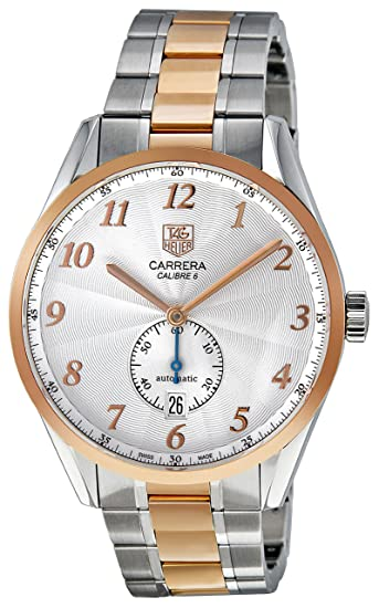 d54249c59e03 Image Unavailable. Image not available for. Color  Tag Heuer Men s  WAS2151.BD0734 Carrera Heritage Silver Dial 18k Rose Gold Bezel Watch