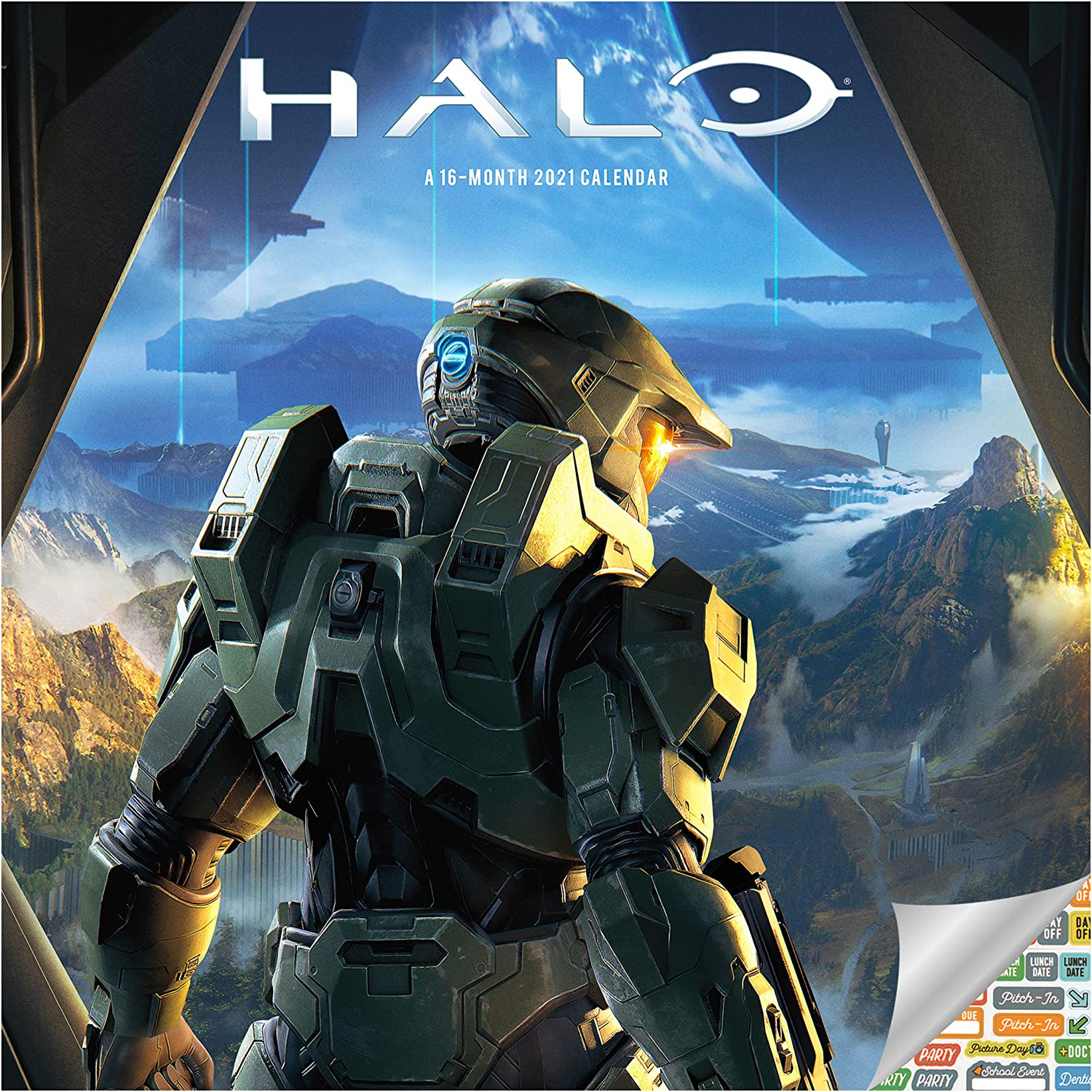 Halo Calendar 2021 Bundle - Deluxe 2021 Halo Wall Calendar with Over 100 Calendar Stickers (Halo Gifts, Office Supplies)