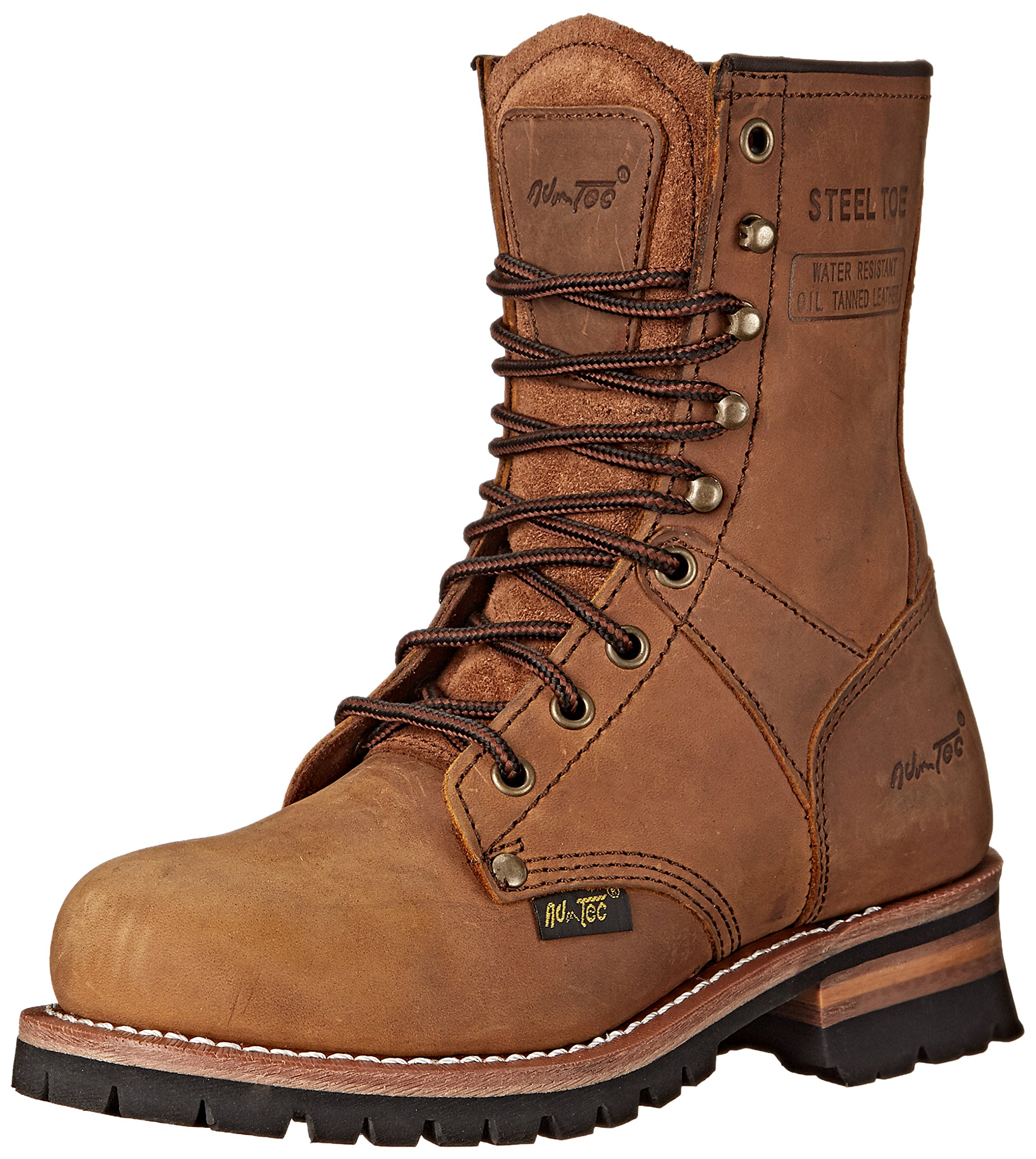 Adtec Women's Work Boots 9'' Steel Toe Logger, Brown, 7.5 M US