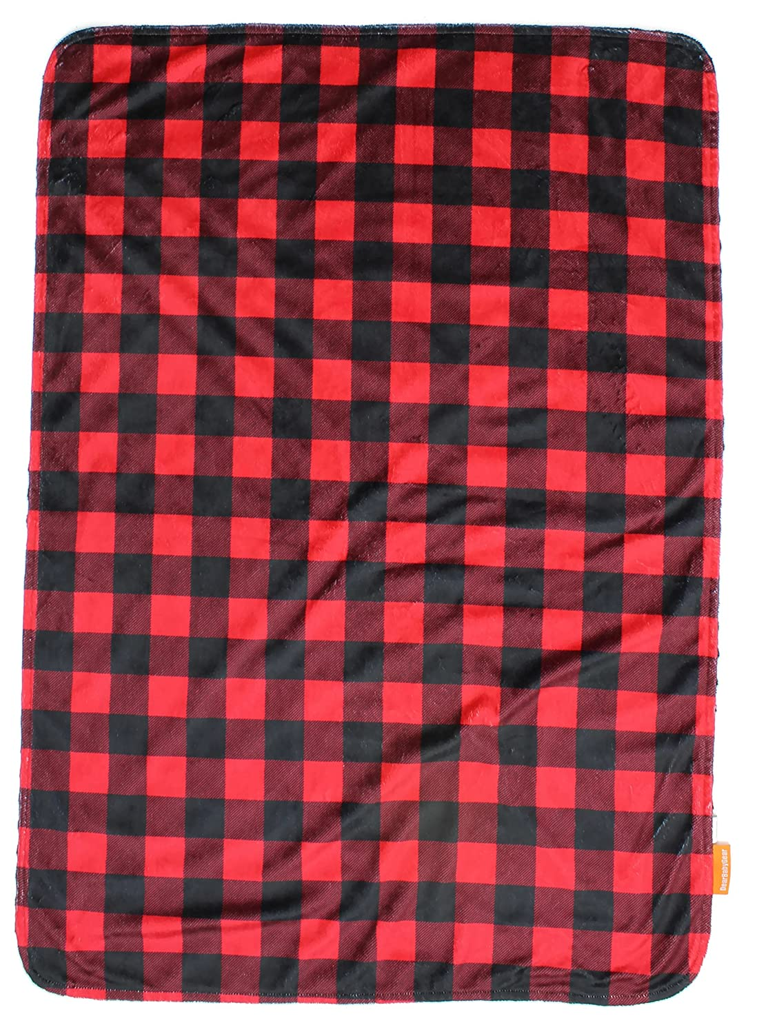 Custom Minky Print White Antlers Red and Black Buffalo Plaid Minky Dear Baby Gear Deluxe Reversible Baby Blankets
