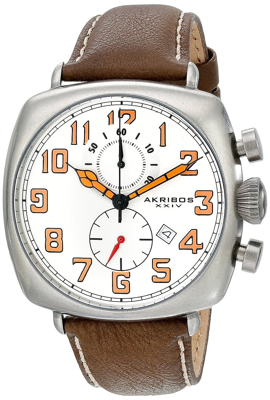 Akribos XXIV Men 's ak786wtクロノグラフクオーツMovement Watch withホワイトダイヤルとブラウンでクリームステッチレザーストラップ B00RCUVB54