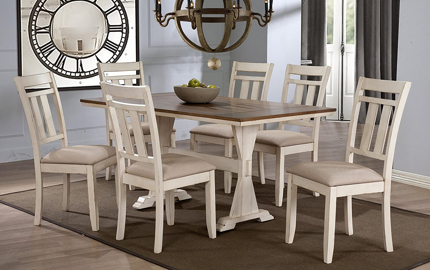 Baxton Studio Wholesale Interiors 7 Piece Roseberry Shabby Dining Set With Trestle Base 60 Fixed Top Dining Table Oak Distressed White