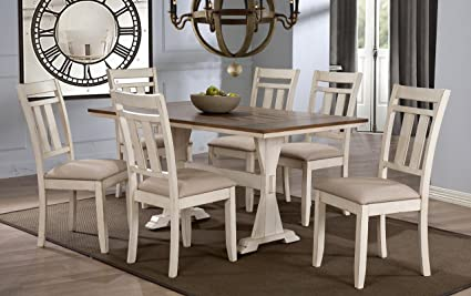 Wholesale Interiors 7 Piece Roseberry Shabby Dining Set With Trestle Base  60u0026quot; Fixed Top Dining
