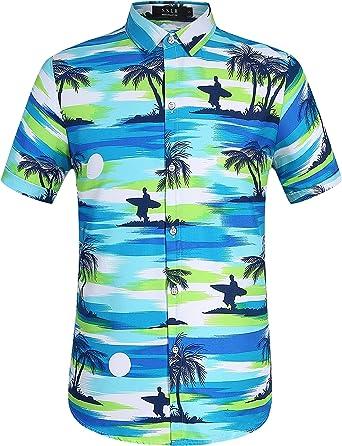 SSLR Camisa Playera Estilo Hawaiano Surfista de Verano para Hombre: Amazon.es: Ropa y accesorios