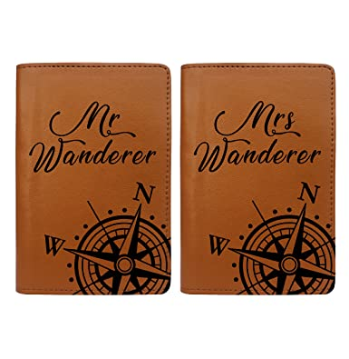 Amazon com | World Compass Map - Couple Passport Holder Set of 2