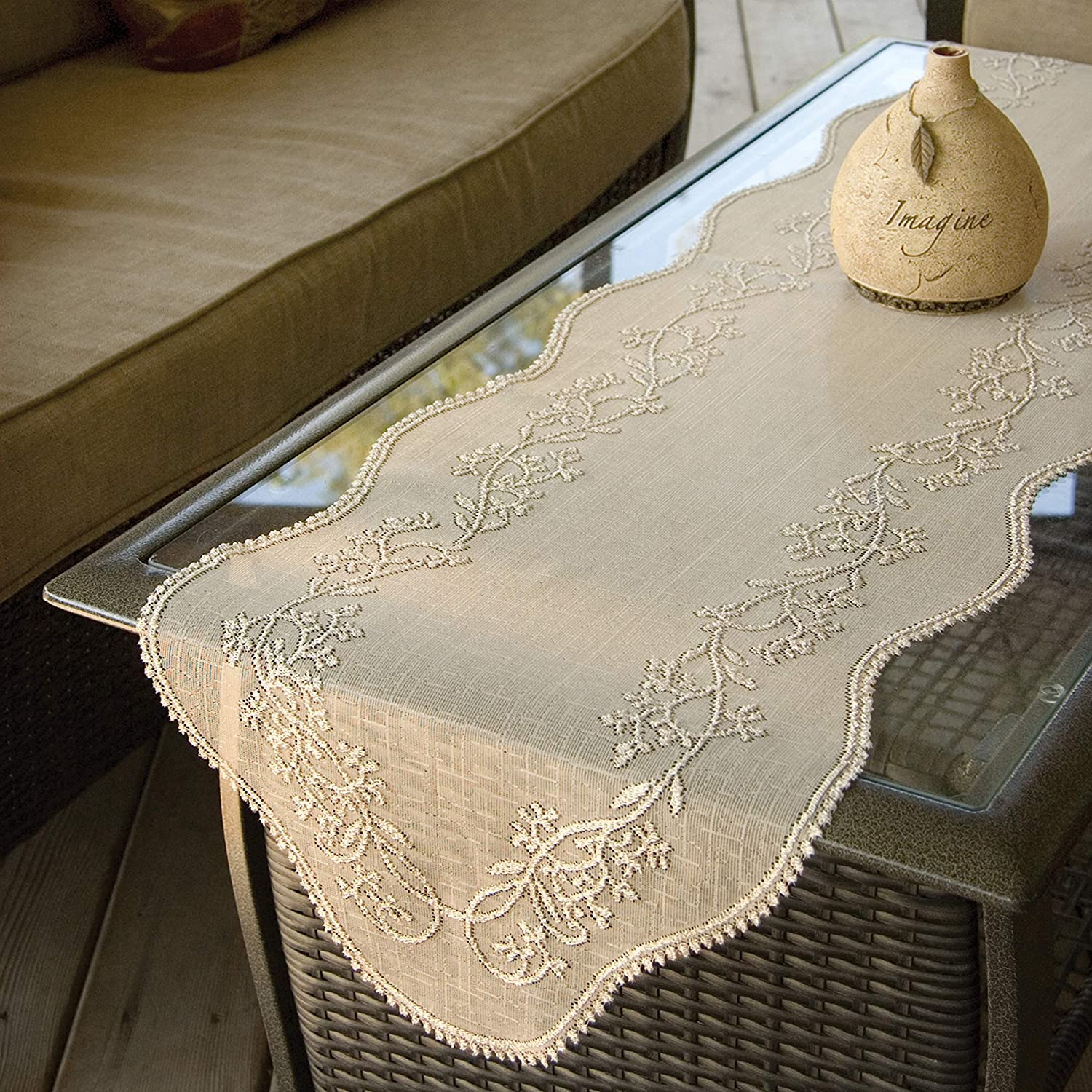 14 by 72-Inch White Heritage Lace Sheer Divine Table Runner