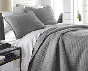 Southshore Fine Linens - Vilano Springs Oversized 3 Piece Quilt Set, Full/Queen, Steel Grey