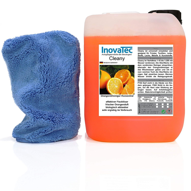 Inovatec KNALLER! - Cleany Orangenö lreiniger Konzentrat 5l + gratis Waschhandschuh Eleganz blau