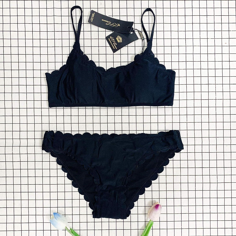 8599fac272 Amazon.com: SS Queen Women Classic Scallop Bikini Swimwear Two Piece Bathing  Suit: Clothing