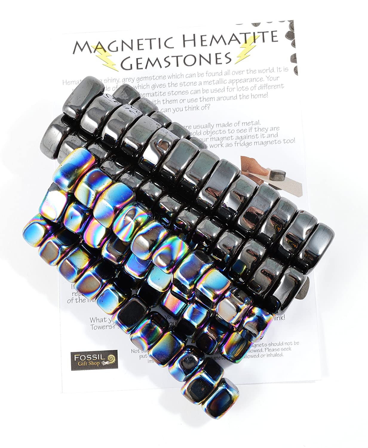100 Mixed Hematite & Iridescent Magnets - Information Sheet Included! Fossil Gift Shop
