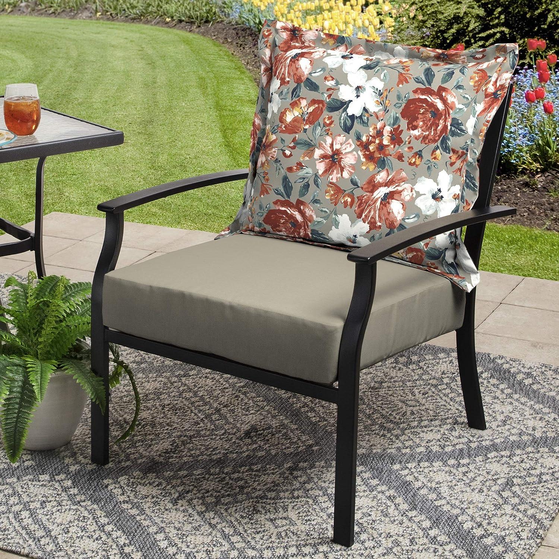 Better Homes & Gardens 45 x 24 Outdoor Deep Seat Cushion Set - Gray Floral