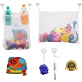 SODAH Club Bath Toy Organizer Set + Educational Waterproof Bath Book - Bath Toy Storage For Kids, Toddlers & Adults - 2 x Net Toy Holder Organizers + 6 Ultra Strong Hooked Suction Cups