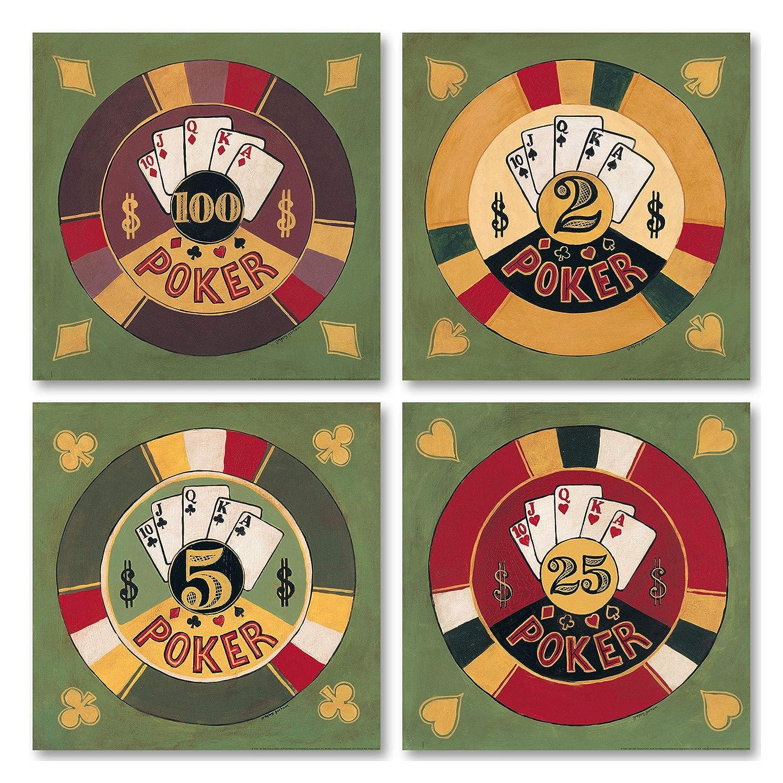 ヴィンテージ Casino、レトロPoker Sign ; Casino Four Chipsとカード; Mounted 4つ12 x 12プリントポスター Four 8x8in Mounted Prints Four 8x8in Mounted Prints B01CGX8MDU, 杵築市:3e506272 --- itxassou.fr