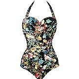 Angerella Womens One Piece Swimsuit Retro Vintage Halter Bathing Suit Monokini