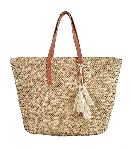 9efab2b96f97 Straw Beach Tote Shoulder Bag Womens Large - Washable Lining Leather handle  BEACH'D