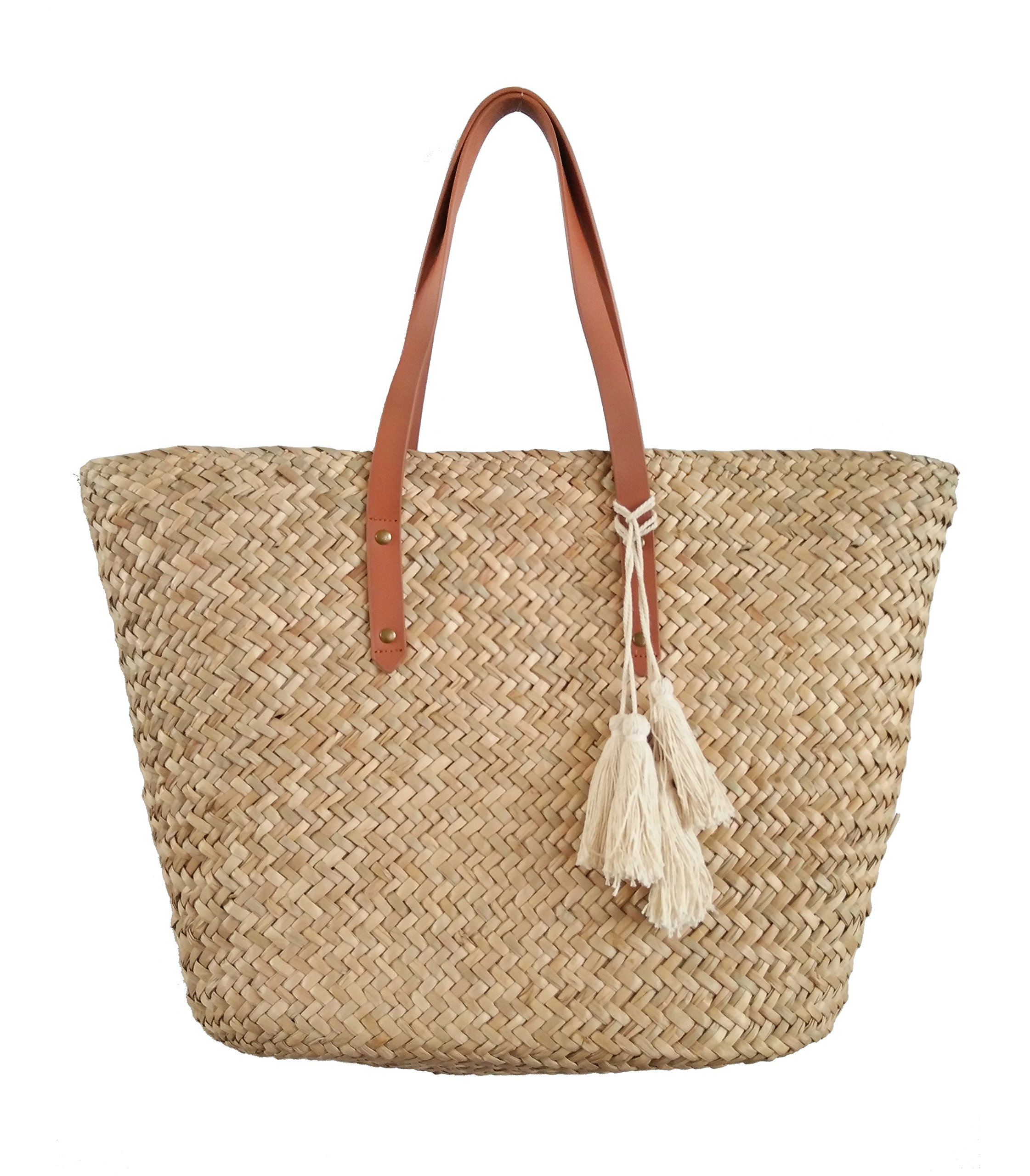 Straw Leather Beach Tote Shoulder Bag Womens Large - Washable Lining BEACH'D (Natural/Tan)