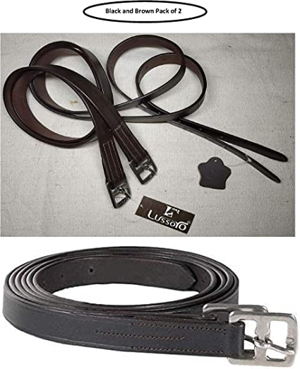 Lussoro Horse Leather Stirrups Brown for Horse Full Size