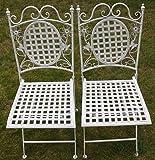 Maribelle - Gartenmöbel-Set - 2 eckige Stühle - Florales Design - Metall - Weiß mit Antik-Finish