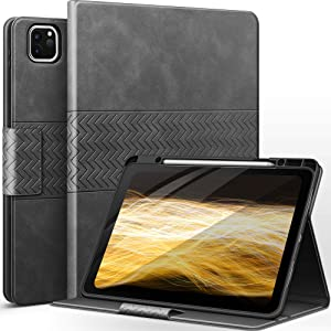 auaua Case for iPad Pro 12.9 5th/4th/3rd Generation, with Built in Pencil Holder, Auto Sleep/Wake, PU Leather Smart Cover(Grey)