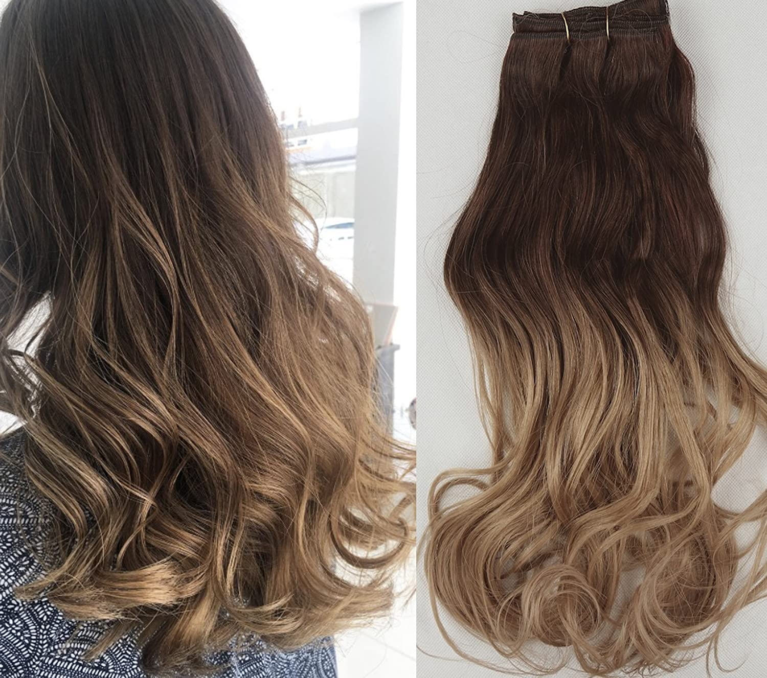 20 Inch long Full Head clip in Hair extensions Ombre (Dark brown to sandy blonde) DevaLook