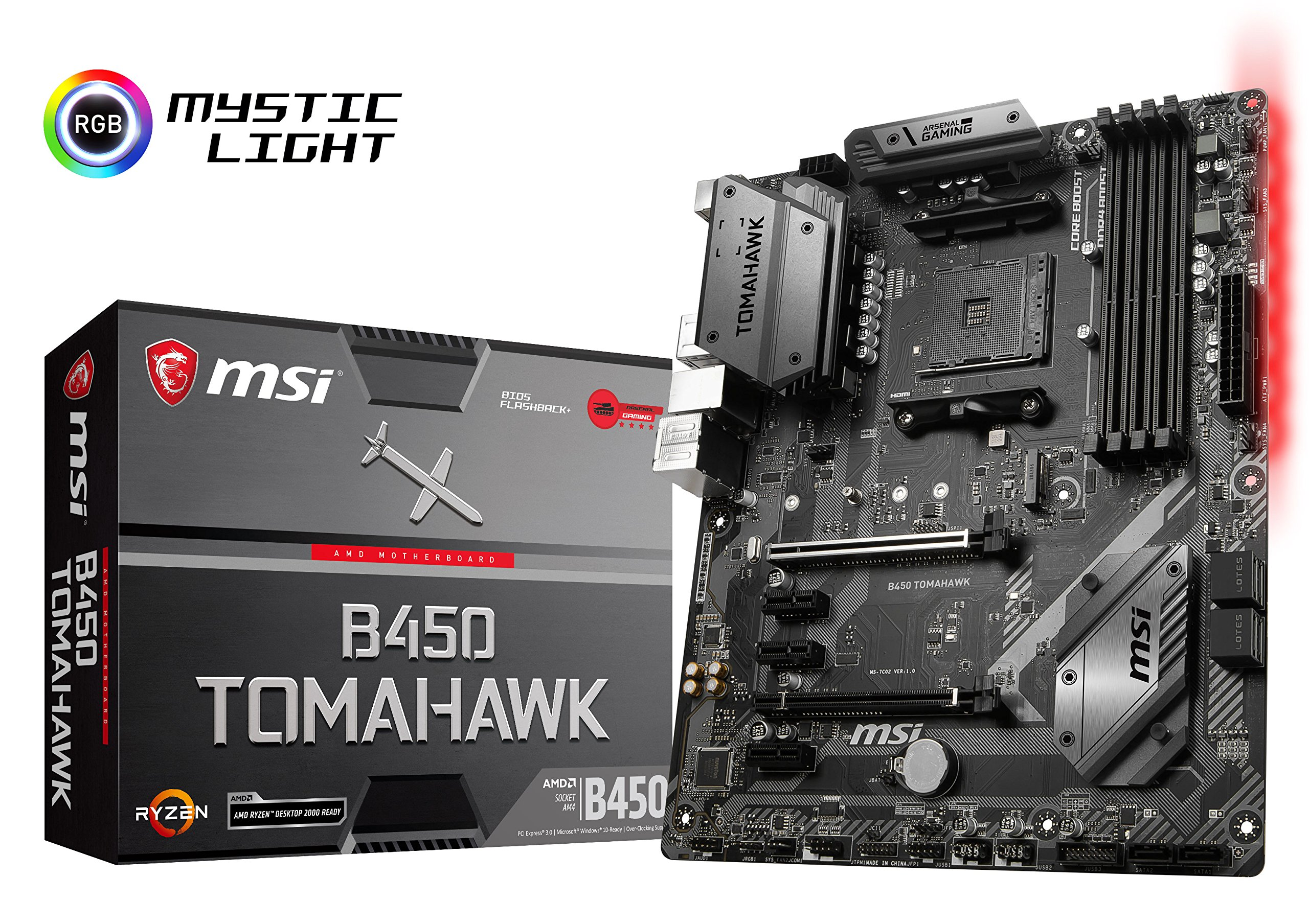 MSI Arsenal Gaming AMD Ryzen 1st and 2nd Gen AM4 M.2 USB 3 DDR4 DVI HDMI Crossfire ATX Motherboard (B450 Tomahawk) by MSI