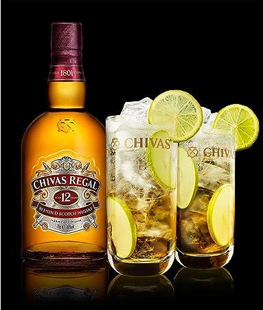Chivas Regal 12 años Blended Scotch Whisky Set de 3 vasos de whisky, chupitos, licores, alcohol, botella, 40%, 3 x 700 ml