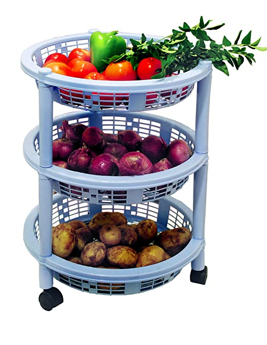 Princeware Maria 3 Rack Big Trolley, Blue-Best-Popular-Product